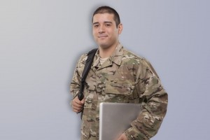 military student with laptop and backpack