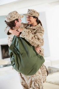 military couple coming home