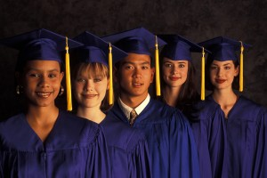 College Graduates in Blue Gowns