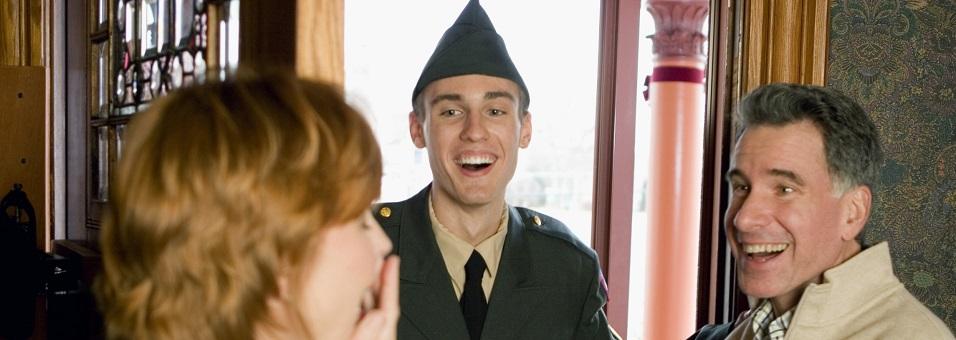 soldier surprising parents at home