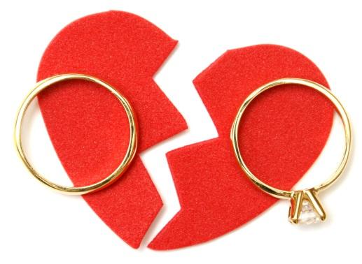 wedding rings on top of broken heart