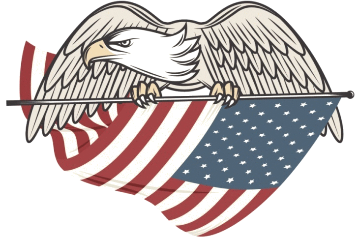 Eagle Holding American Flag