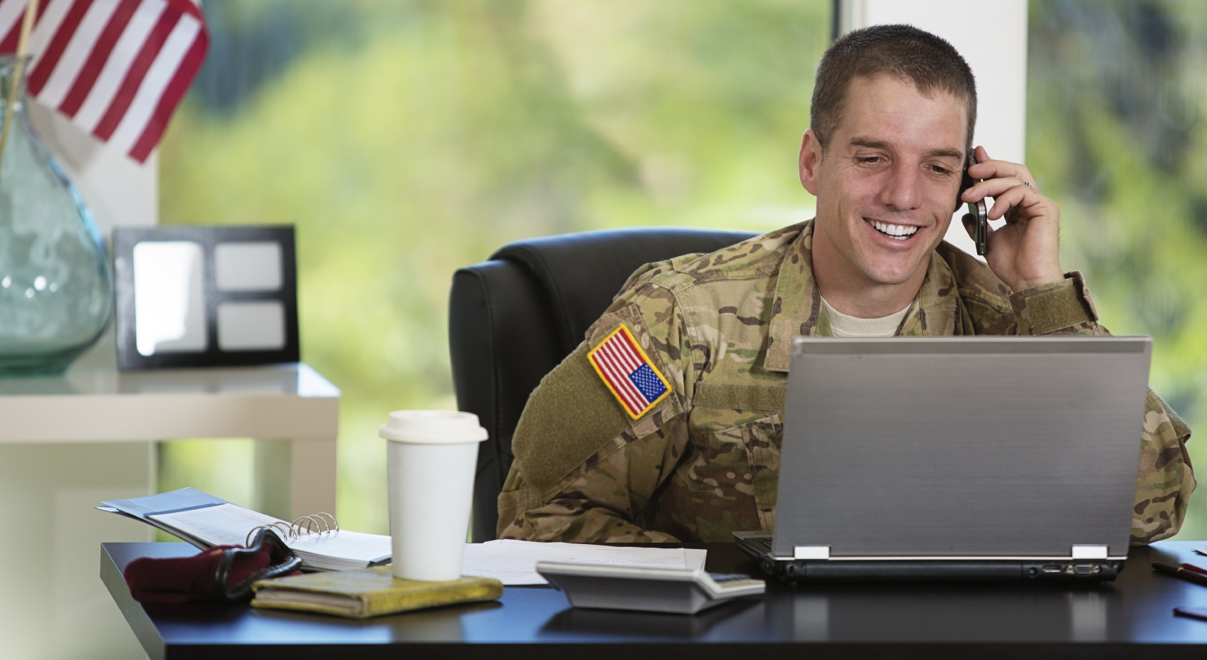 Military Student at Desk