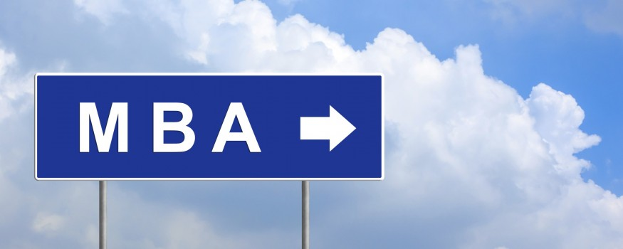MBA (Master of Business Administration) on blue road sign