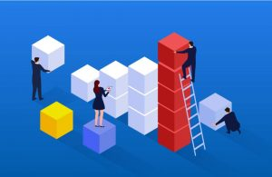 Animation of business people team building with blocks and a ladder.