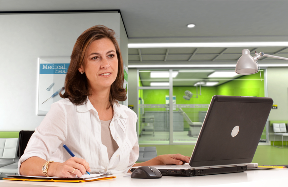 A healthcare administrator oversees the efficient operation of the clinic she manages. She enjoys her career made possible with her MS in Healthcare Administration degree she earned online at Touro University Worldwide.