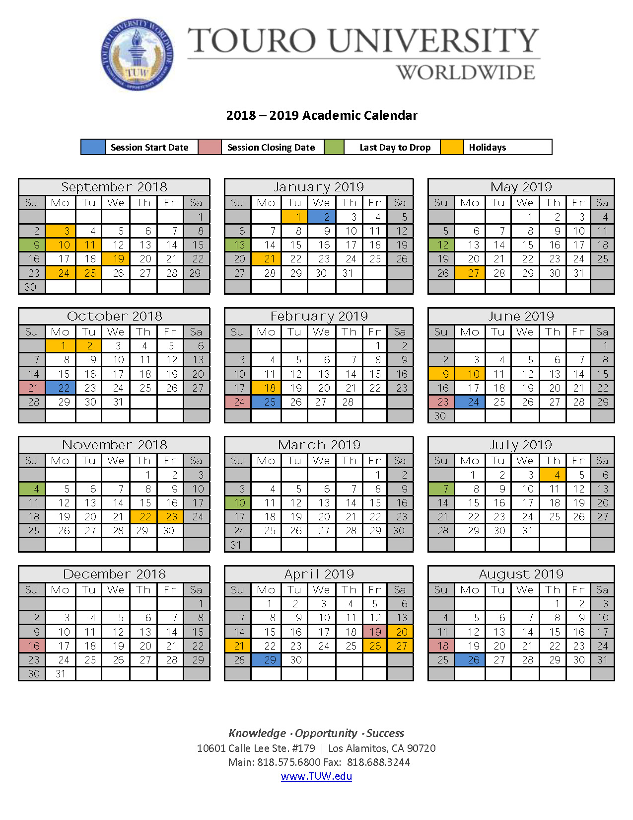 Spring 2020 Academic Calendar.Academic Calendar Touro University Worldwide