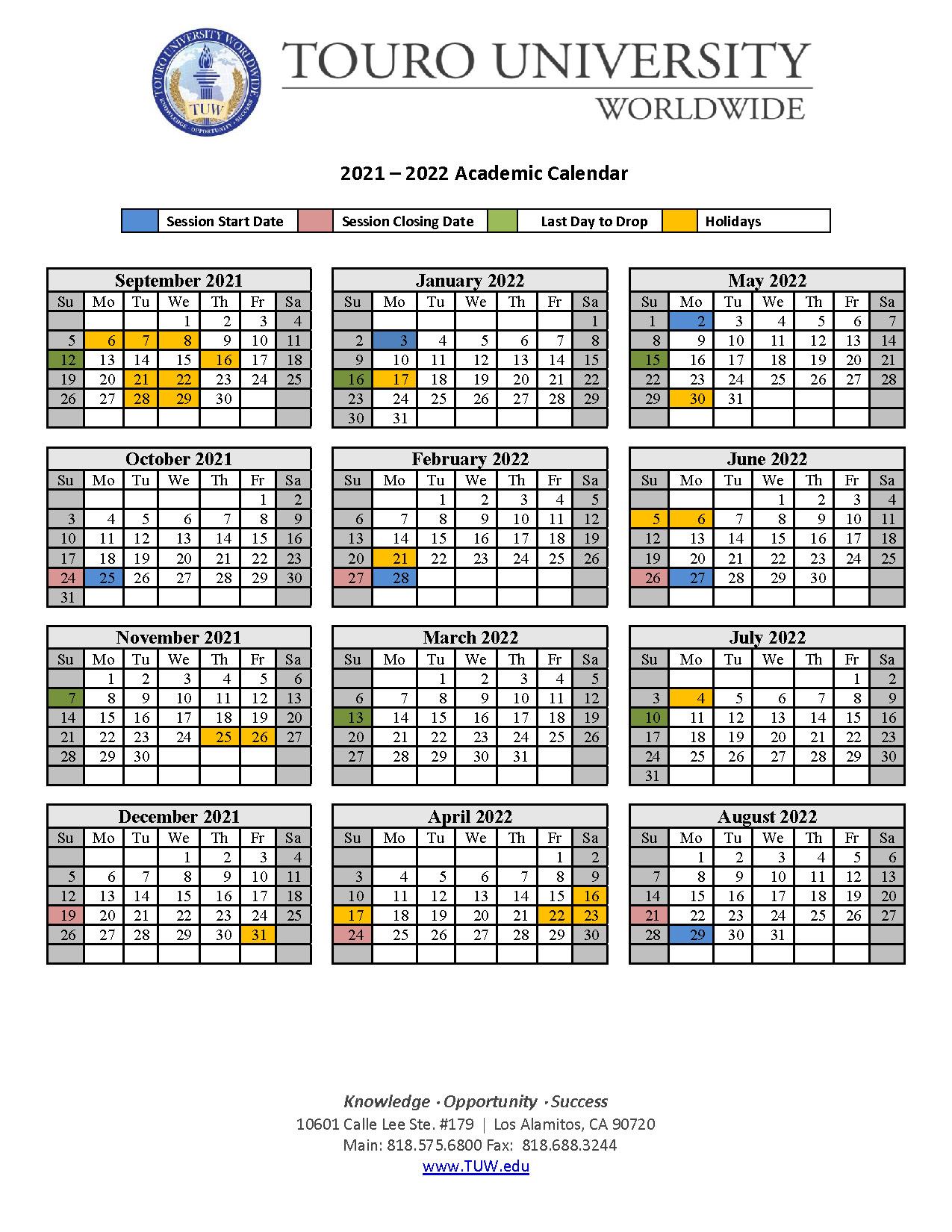 Twu Academic Calendar 2021 Academic Calendar | Touro University Worldwide